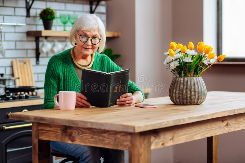 有银色头发读书圣经的迷人的贵妇人在厨房用桌上 库存照片