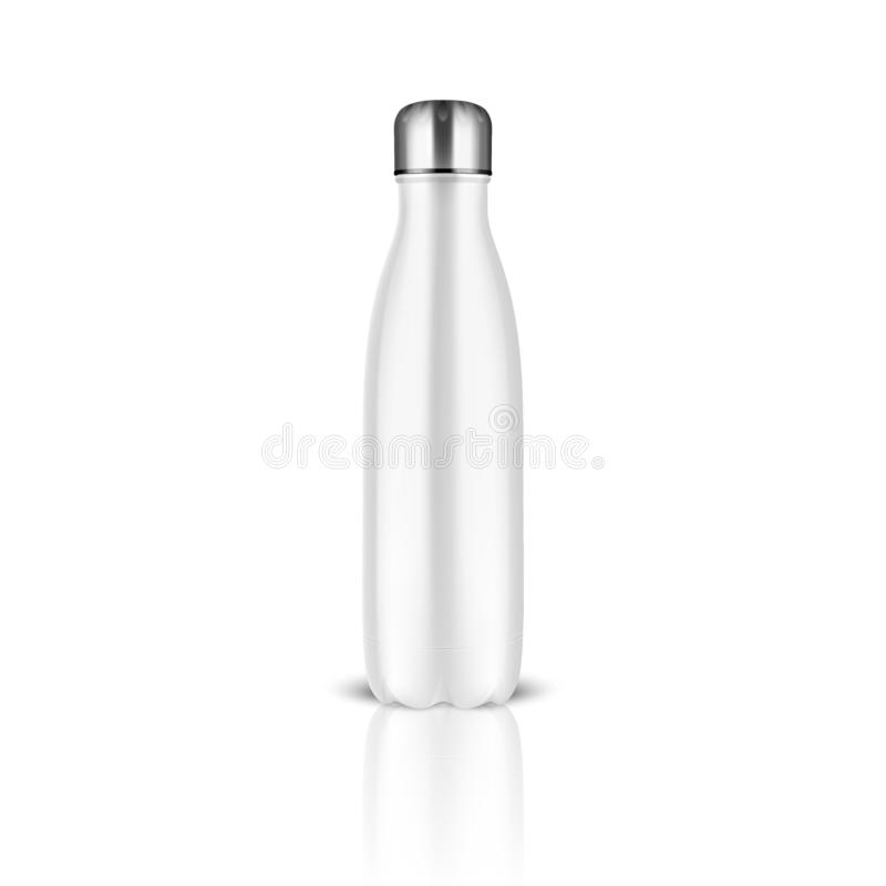 有银色桶盖特写镜头的传染媒介现实3d白色空的光滑的金属可再用的水瓶在白色背景 设计 皇族释放例证