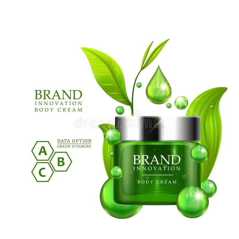 有银色盖帽和绿色的绿色奶油色瓶在白色背景离开 护肤维生素惯例治疗设计 向量例证
