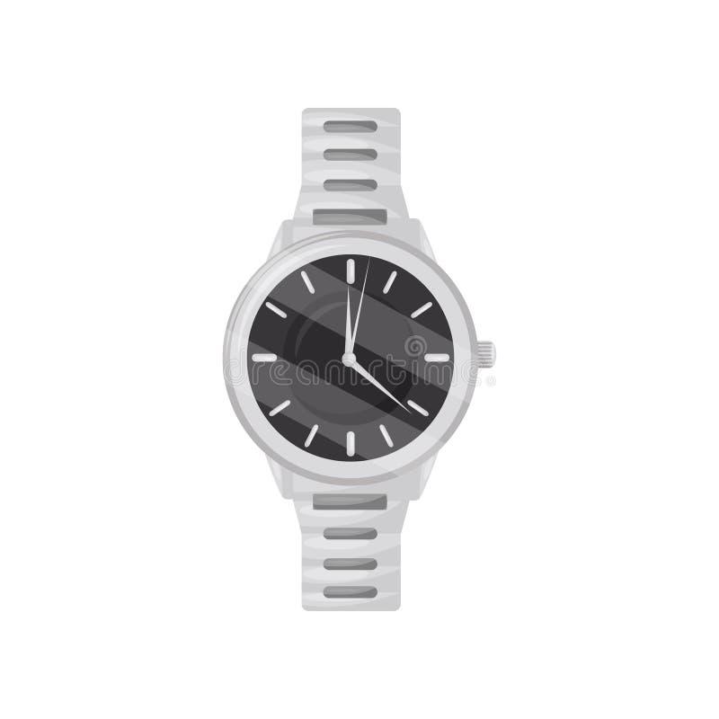 有银色镯子和黑拨号盘的经典机械手表 时髦的男性辅助部件 平的传染媒介象 皇族释放例证