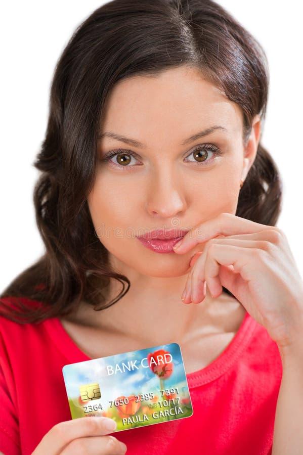 有银行卡的神奇妇女 免版税库存图片