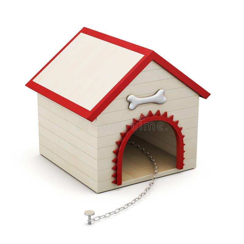 有链子的犬小屋在白色背景 3d翻译 库存例证