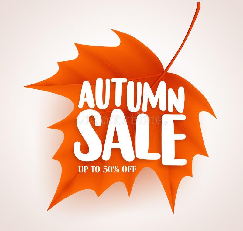 有销售文本的橙色秋天叶子在白色背景传染媒介横幅设计 库存例证