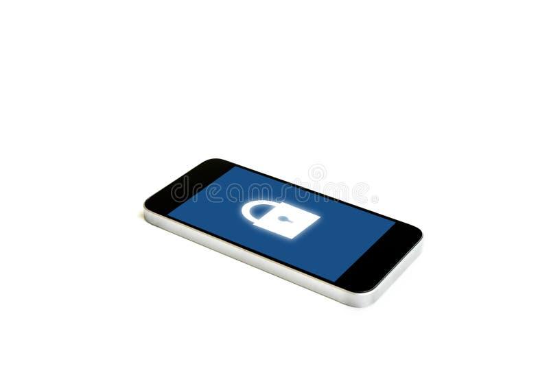 有锁象的流动巧妙的电话在屏幕上,隔绝在白色背景 互联网安全和流动保安系统技术 库存例证