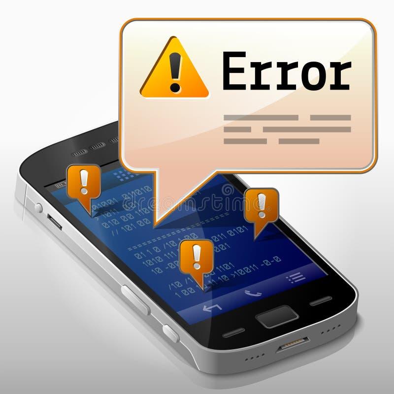 有错误信息泡影的智能手机 皇族释放例证