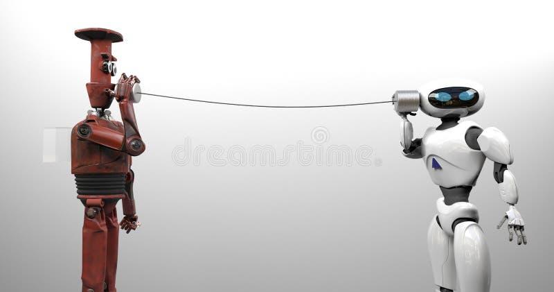 有锡罐电话的两个机器人 3d?? 向量例证