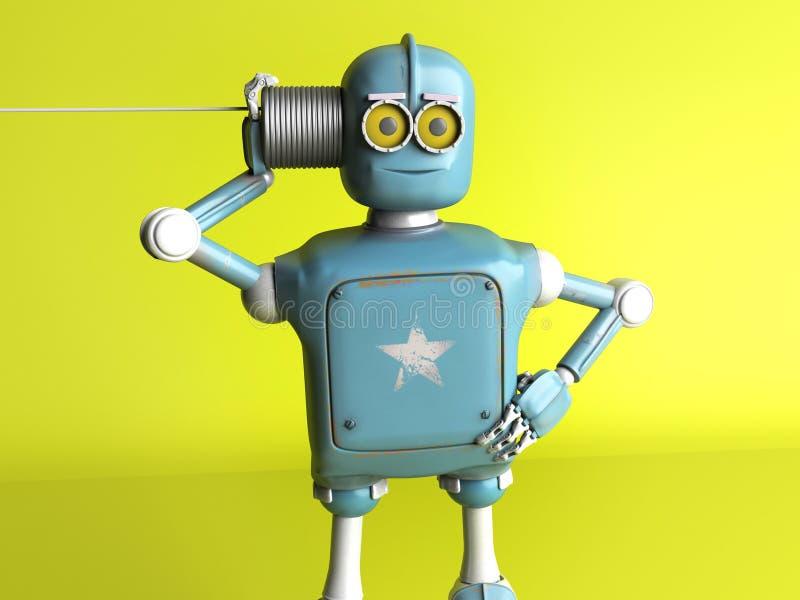 有锡罐电话的减速火箭的机器人 3d回报 库存例证