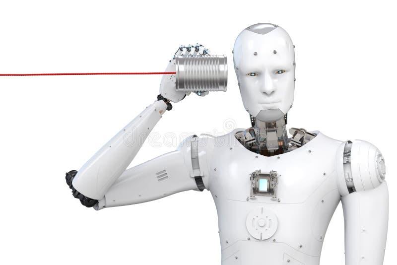 有锡罐的机器人 免版税库存照片