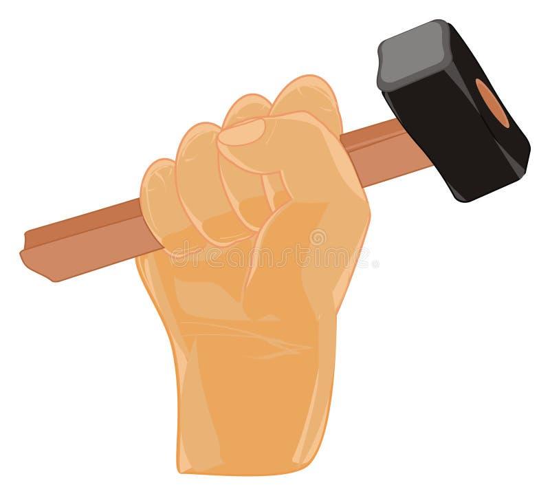 有锤子的拳头 向量例证