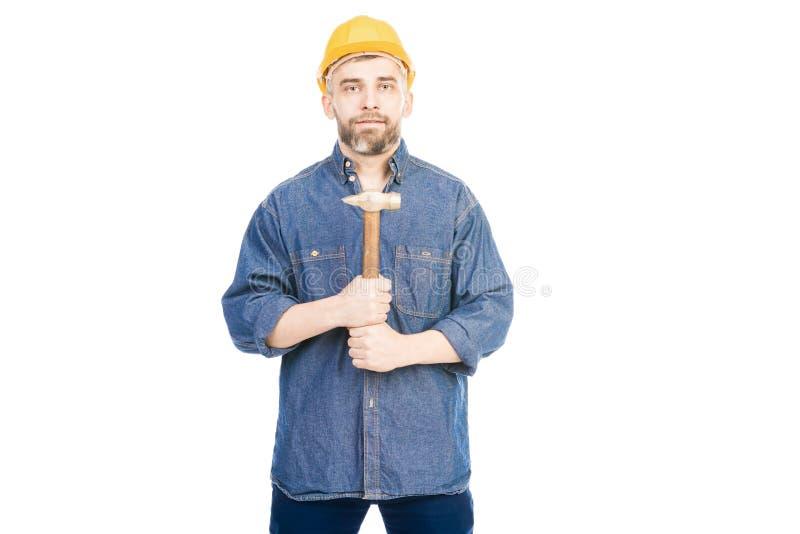 有锤子的确信的工头 库存照片