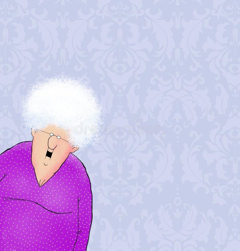 有锦缎墙纸和室的愉快的老妇人文本的 向量例证