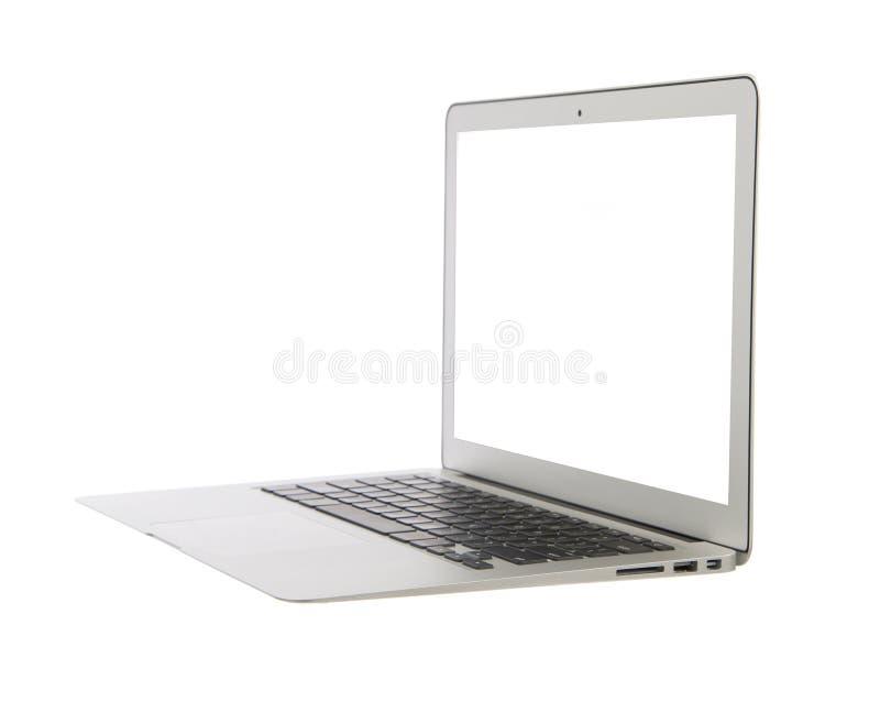有键盘白色scre的现代普遍的企业便携式计算机 免版税库存照片