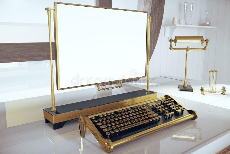有键盘Steampunk和空白的框架的书桌 向量例证
