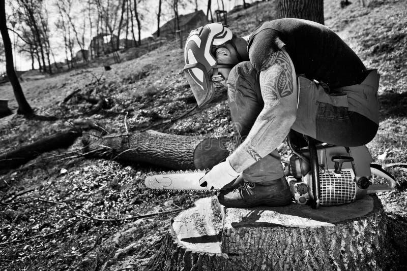 有锯的伐木工人 免版税库存照片