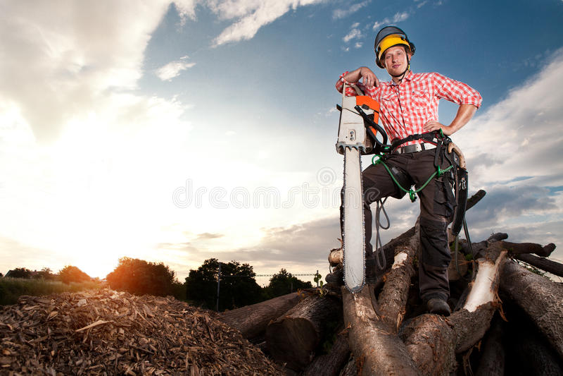 有锯的微笑的伐木工人 库存图片