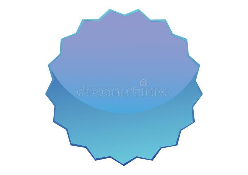 有锯齿的蓝色光滑的按钮 皇族释放例证