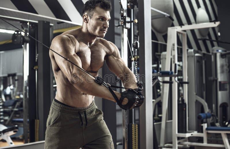有锻炼机器的人爱好健美者 免版税库存图片
