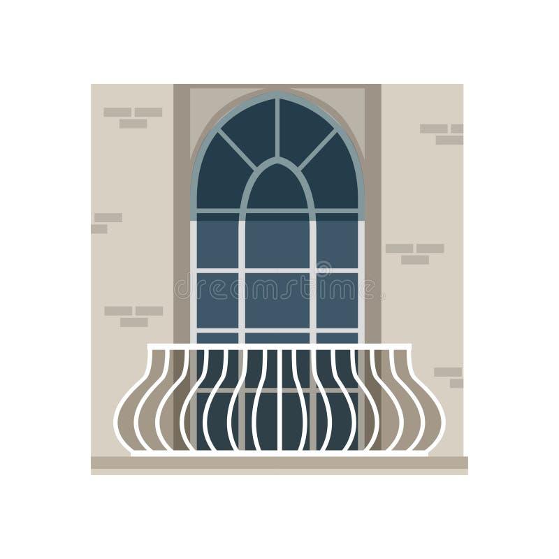 有锻铁栏杆的阳台和在白色背景的被成拱形的窗口传染媒介例证 皇族释放例证