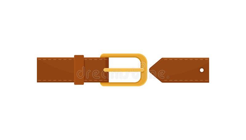 有镀金的金属扣的布朗皮带 衣物的元素 在白色的平的传染媒介象 向量例证
