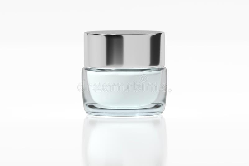 有镀铬物光滑的塑料盒盖3D翻译的玻璃瓶子 皇族释放例证