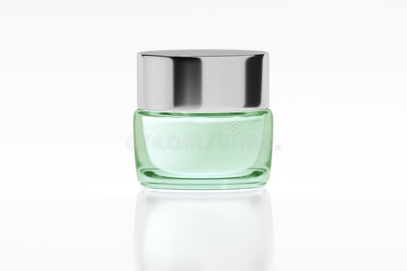 有镀铬物光滑的塑料盒盖3D翻译的绿色玻璃瓶子 库存例证