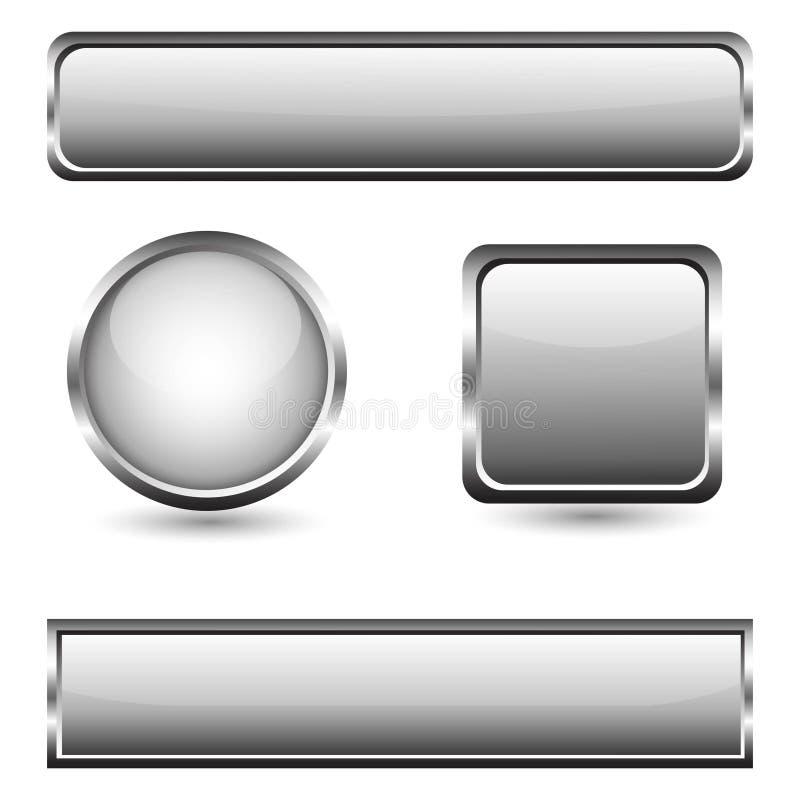有镀铬物框架的灰色玻璃按钮 皇族释放例证