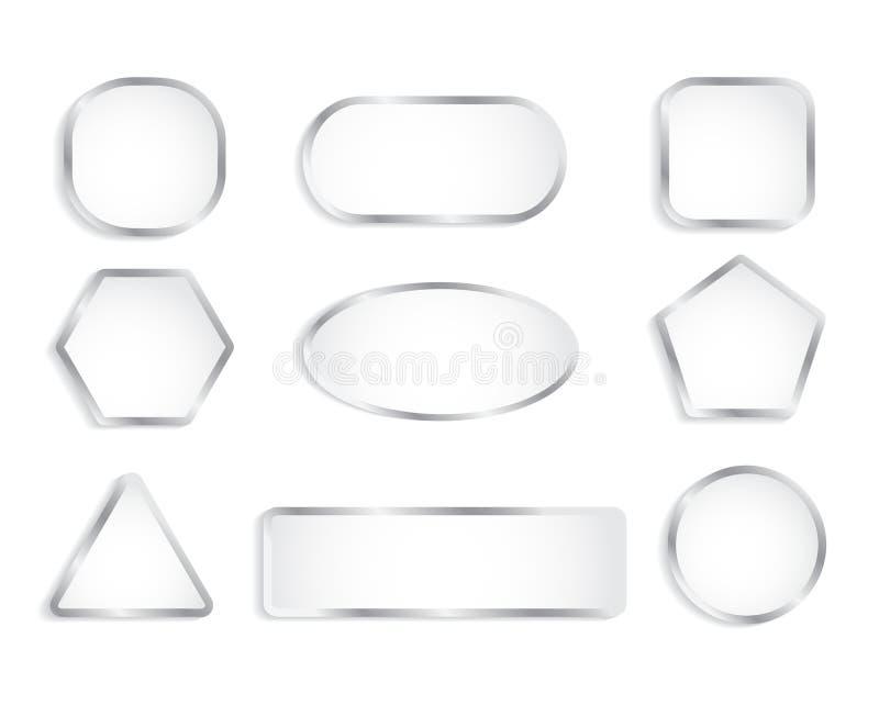 有镀铬物框架的白色玻璃按钮 也corel凹道例证向量 向量例证