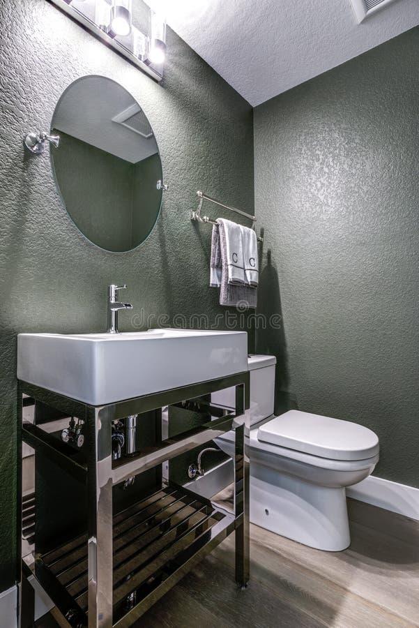 有镀铬物盥洗盆的深灰化妆室 库存照片