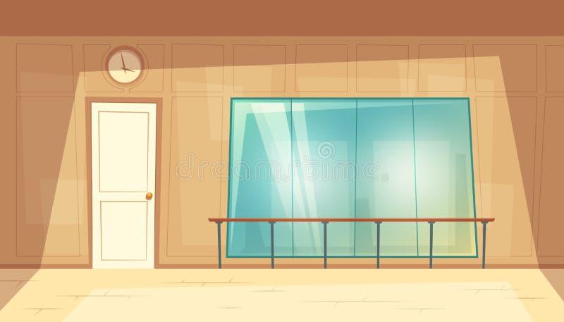 有镜子的传染媒介动画片空的舞蹈大厅 皇族释放例证