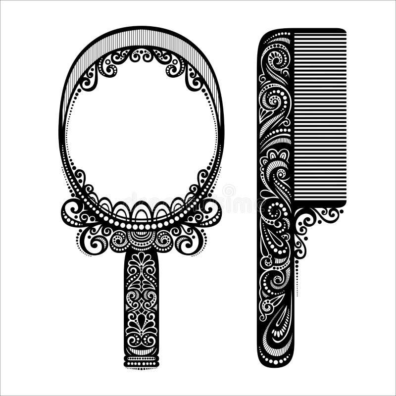 有镜子的华丽梳子 向量例证