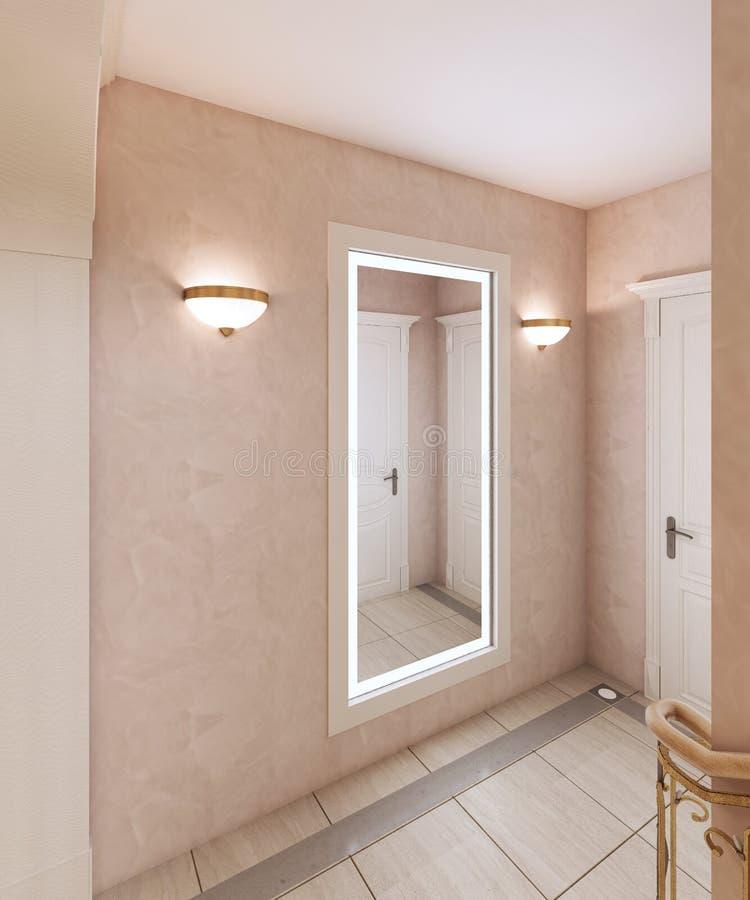 有镜子的走廊和对二楼的一个楼梯在一个经典样式 木步和古铜色扶手栏杆 向量例证