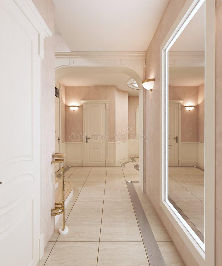 有镜子的走廊和对二楼的一个楼梯在一个经典样式 木步和古铜色扶手栏杆 皇族释放例证