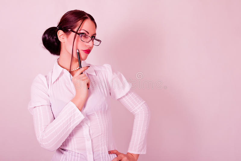 有镜片的妇女 免版税图库摄影