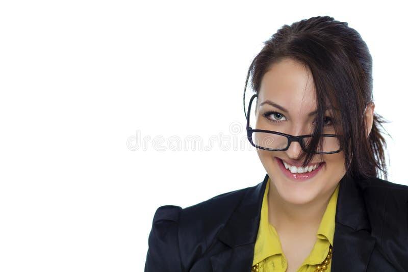有镜片的年轻女商人隔绝了白色背景 库存图片