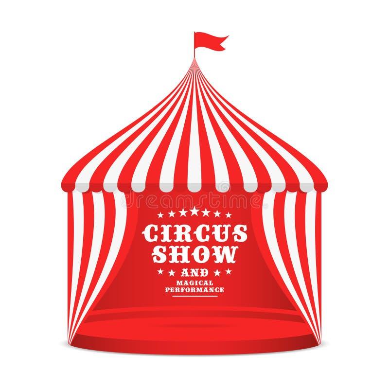 有镶边屋顶和帷幕的马戏场帐篷 事件的狂欢节海报与在白色背景隔绝的马戏大门罩 皇族释放例证