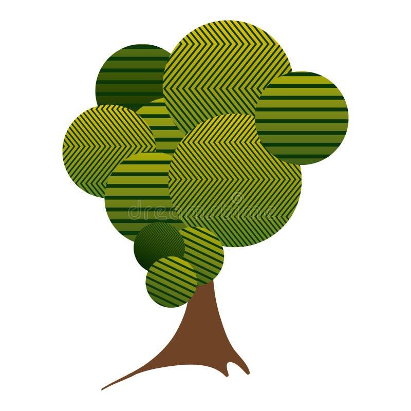 有镶边线和树干的五颜六色的高叶茂盛树植物 向量例证