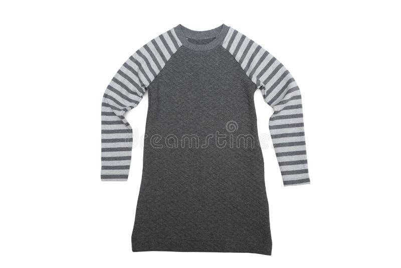 有镶边袖子的灰色婴孩礼服 在白色的孤立 图库摄影