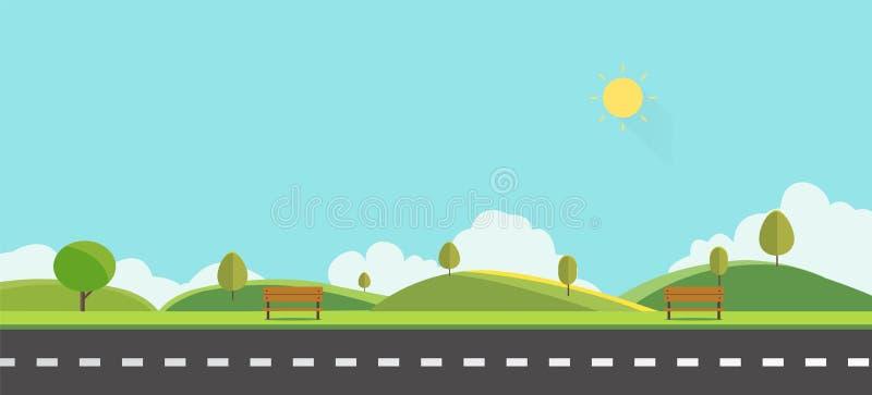 有长凳的公园与天空背景传染媒介例证 美好的本质场面 向量例证