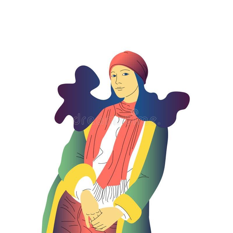有长发、帽子和外套的美丽的手拉的平的样式女孩站立 皇族释放例证