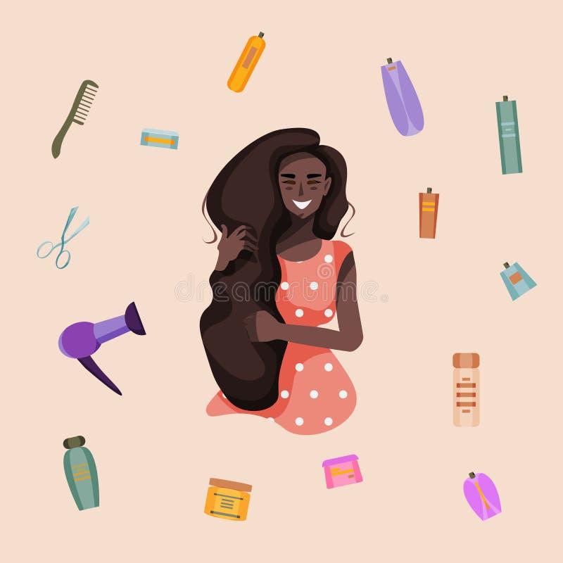 有长发和护发产品的微笑的女孩:吹风器、梳子、剪刀、香波、头发香脂、浪花等等 在小组的所有元素 皇族释放例证