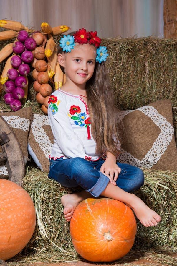 有长发的微笑的白肤金发的女孩在一个五颜六色的乌克兰花圈和在绣坐干草堆 秋天装饰,收获 免版税库存照片