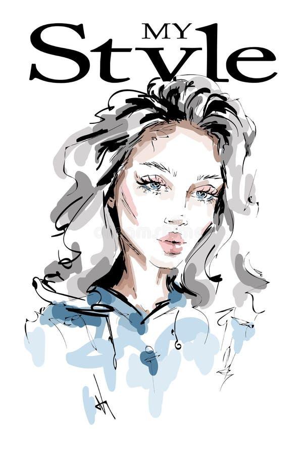 有长发的手拉的美丽的年轻女人 时髦的女孩 时尚妇女神色 向量例证