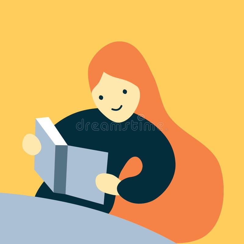 有长发的读一本大书的一个愉快的学生女孩的传染媒介例证 皇族释放例证