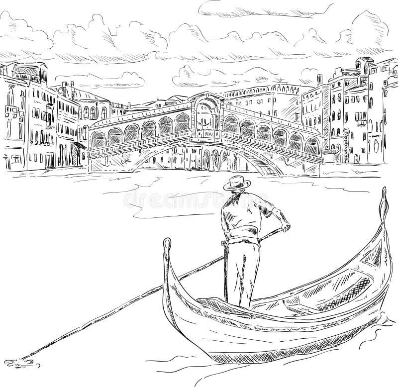 有长平底船的Rialto桥梁 皇族释放例证