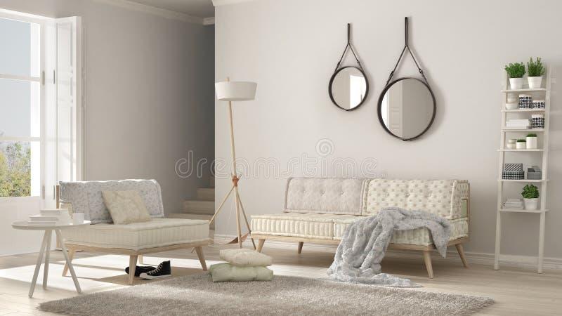 有长沙发、扶手椅子和软的毛皮地毯的斯堪的纳维亚客厅, 向量例证