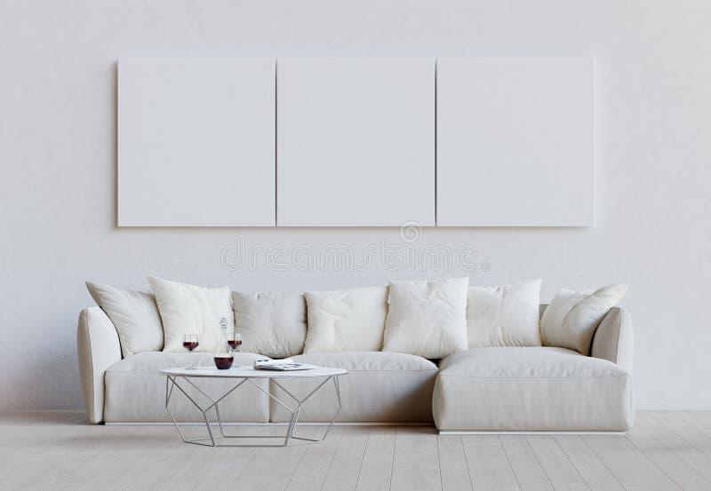 有长沙发、桌和大模型图片的白色客厅 3d?? 向量例证