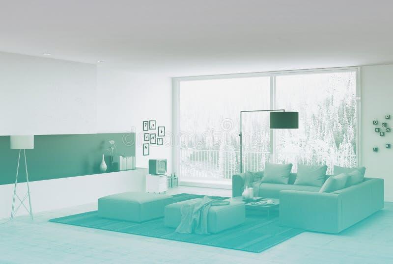 有长沙发的建筑客厅 图库摄影