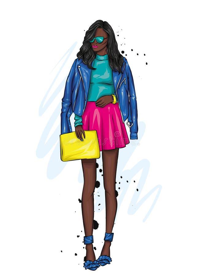 有长的头发的一个美丽的女孩在玻璃、一件夹克、一条裙子和起动与脚跟 也corel凹道例证向量 皇族释放例证