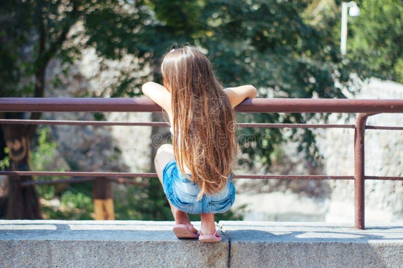 有长的头发的坐在公园的,从后面的看法小逗人喜爱的女孩在一个夏天 免版税库存图片