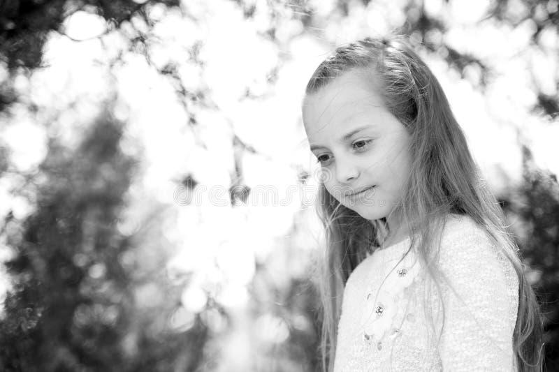 有长的头发的女孩在镇静面孔, defocused自然的背景 有嫩辫子发型的女孩 有辫子的儿童女孩 免版税库存图片